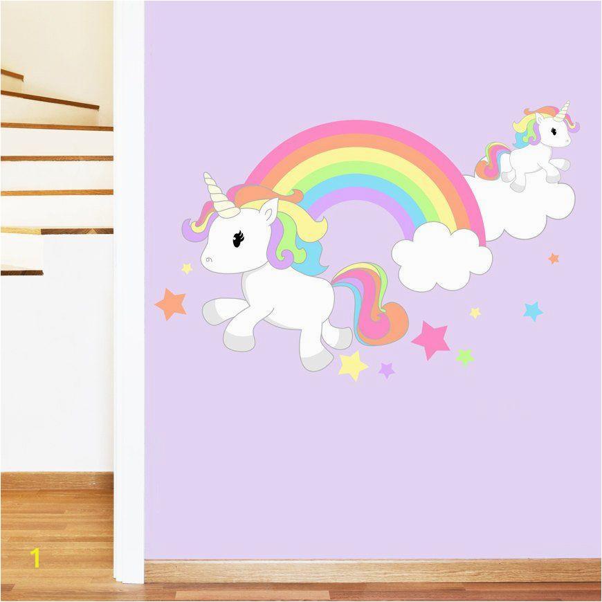 Rainbow Unicorn Wall Mural Rainbow Unicorn & Stars Mural Wall Sticker Girl S
