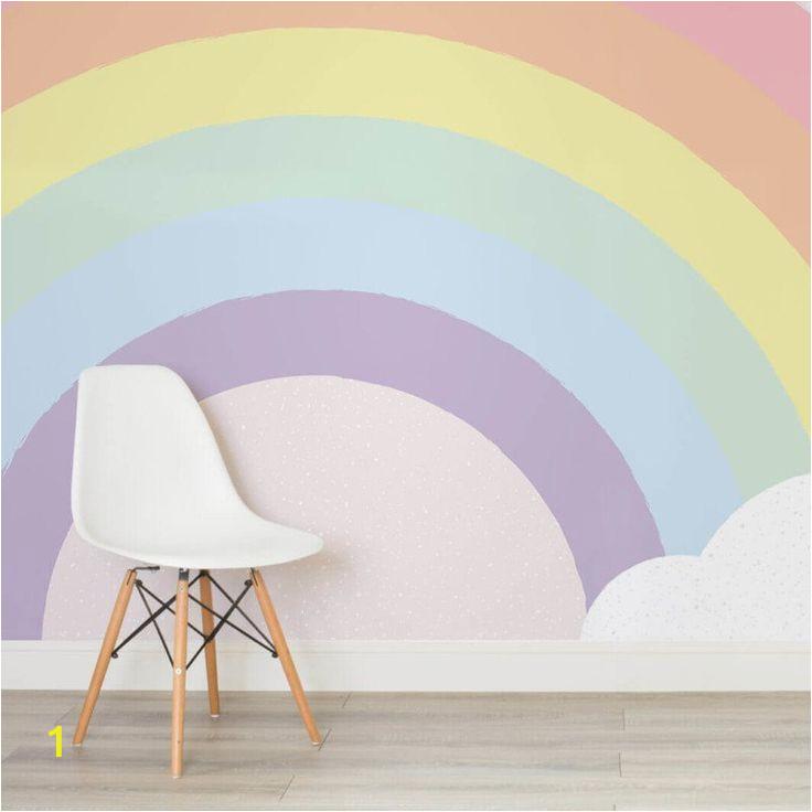 Rainbow Wall Mural Uk Kids Pastel Rainbow Wallpaper Mural