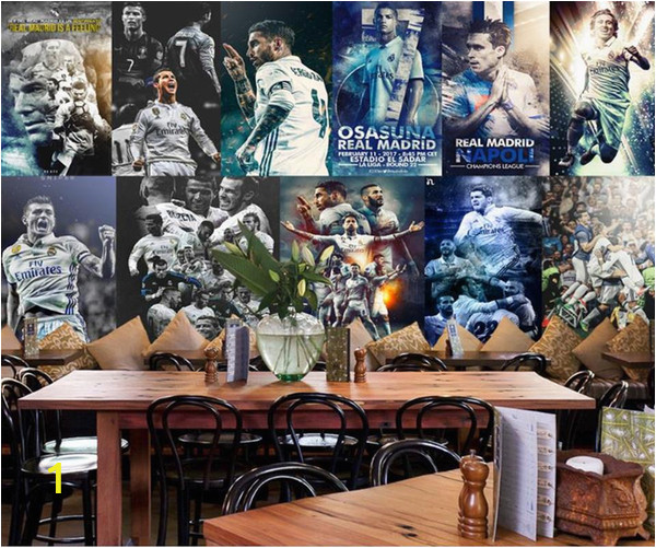 Real Madrid Wall Mural Custom 3d Wallpaper Living Room Mural Real Madrid C Ronaldo Picture Painting Bar sofa Tv Background Wallpaper Non Woven Wall Sticker Free