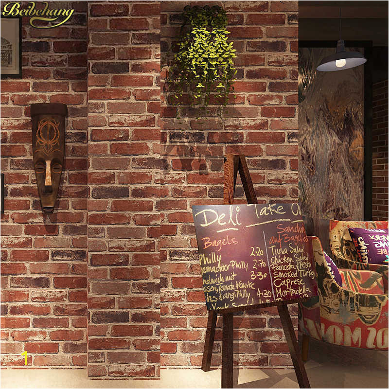 beibehang Retro Vintage 3D Faux Brick Brick Wallpaper Cafe Bar Restaurant Culture Red Brick Wall paper q50