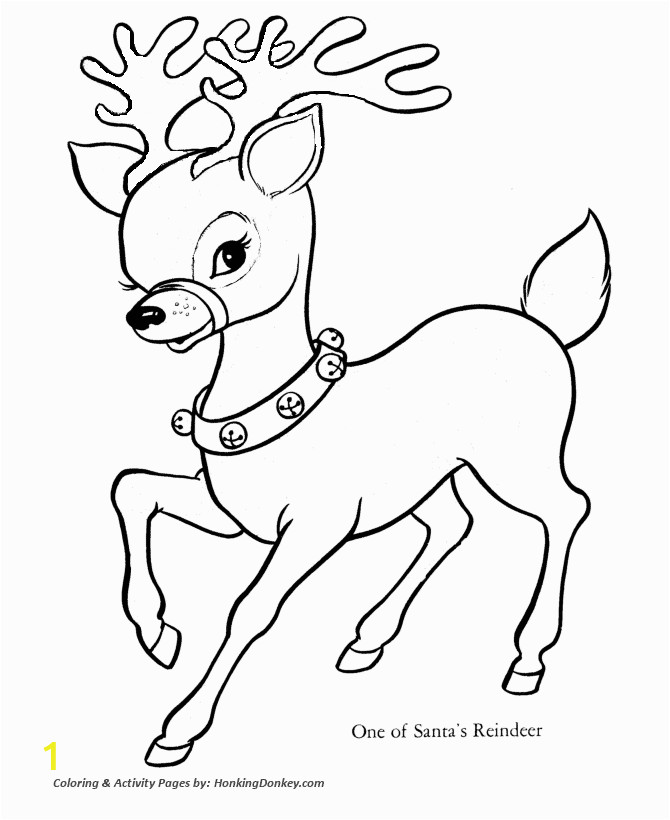 Reindeer Christmas Coloring Pages Santa S Reindeer Page Santa S Reindeer with Sleigh Bells