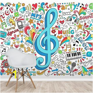 music g clef groovy doodles vector illustration set wallpaper