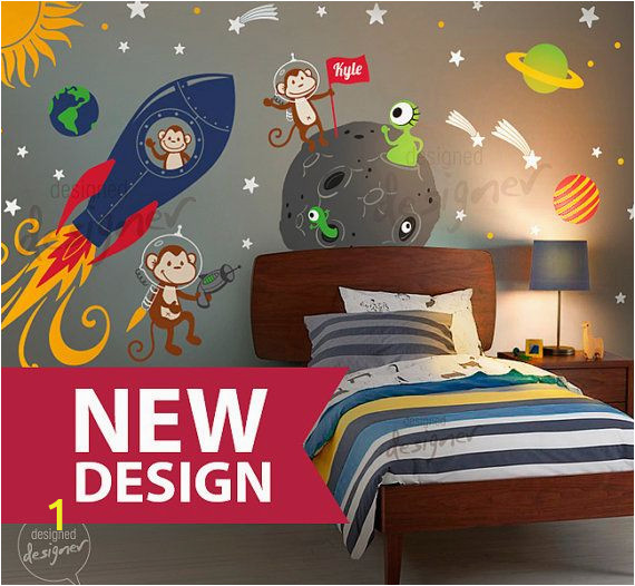 Rocket Ship Wall Mural Space Wall Decal Rocket Ship Alien Planet Monkey astro