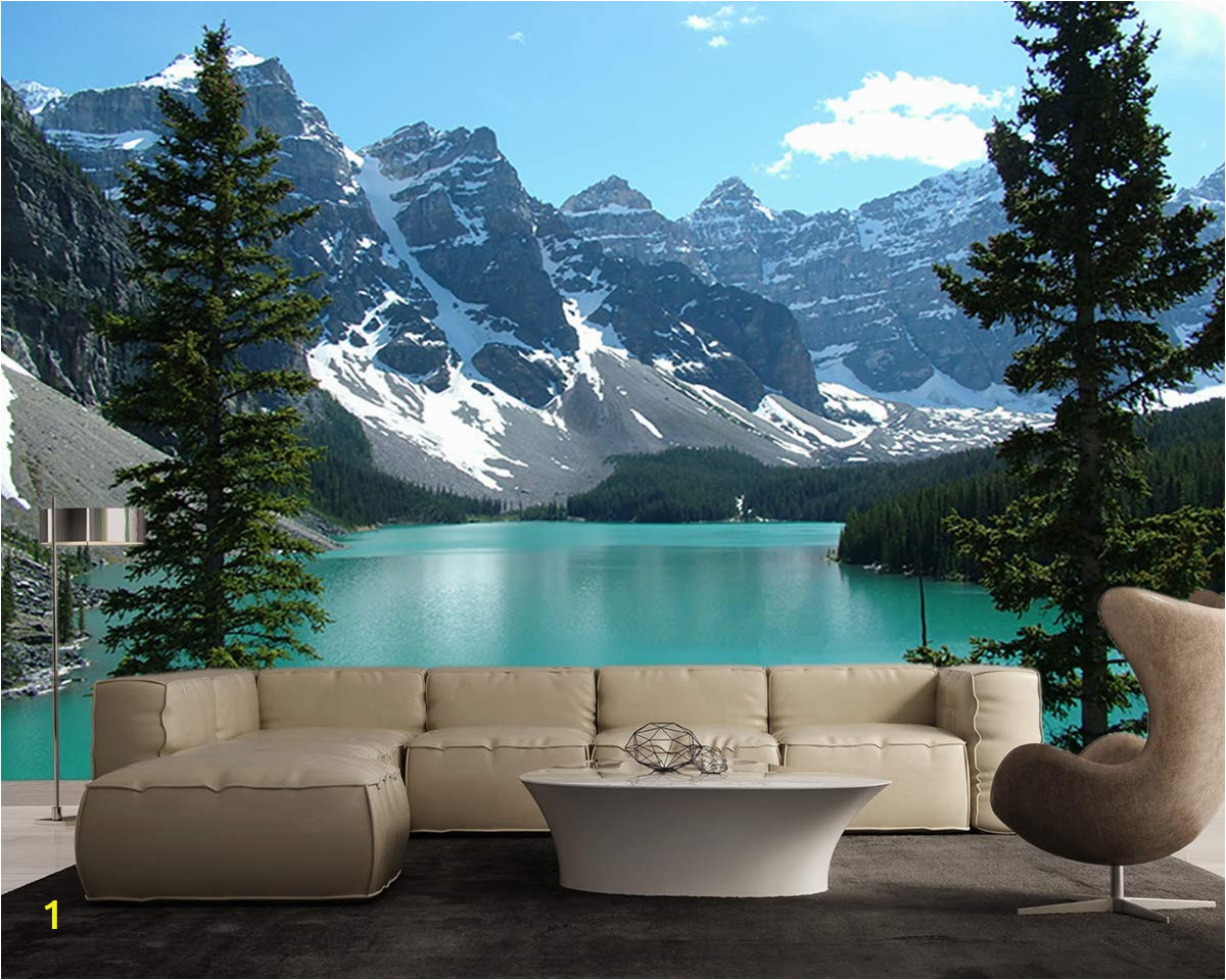Rocky Mountain Wall Mural Azure Blue Lake Banff Rocky Mountain 3d Full Wall Mural