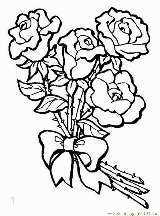Rose Bouquet Coloring Pages S Bouquet Roseseview Coloring Page Free Flowers