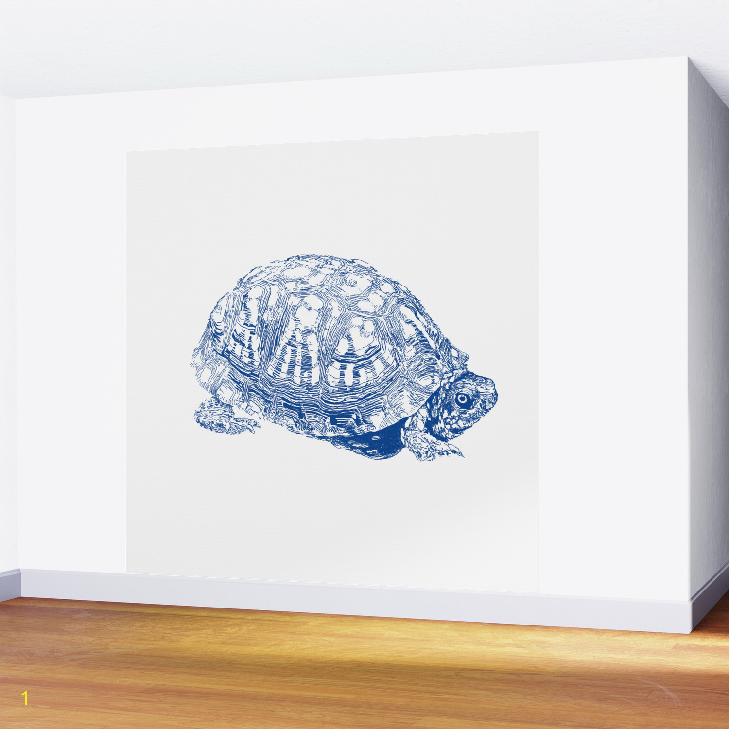 box turtle drawing blue wall murals
