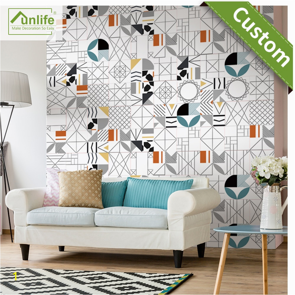 Self Adhesive Wall Murals Stickers Us $10 49 Off Funlife Tile Sticker Geometry Abstract Waterproof Self Adhesive Easy to Clean Wall Sticker Wall Art Furniture Kitchen Wallpaper In