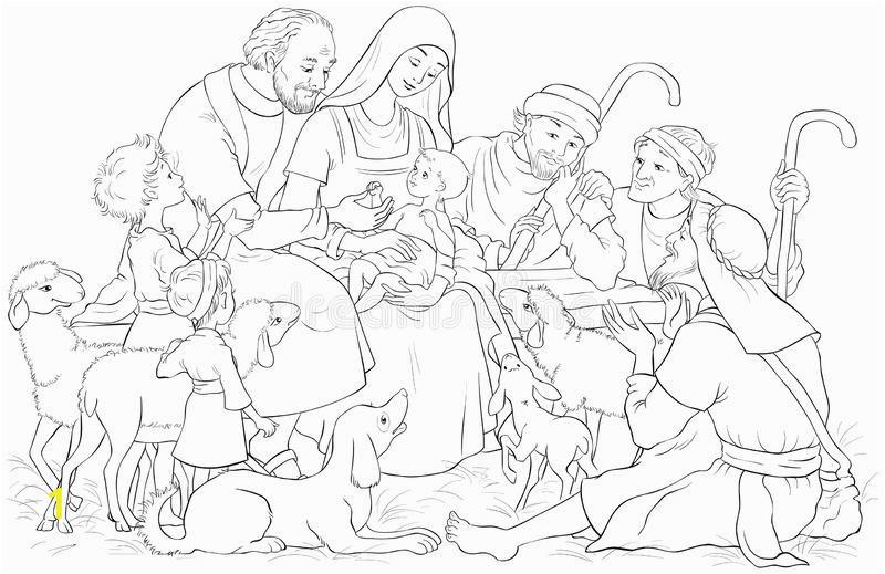 christmas nativity scene holy family baby jesus mary joseph shepherds coloring page vector cartoon christian illustration