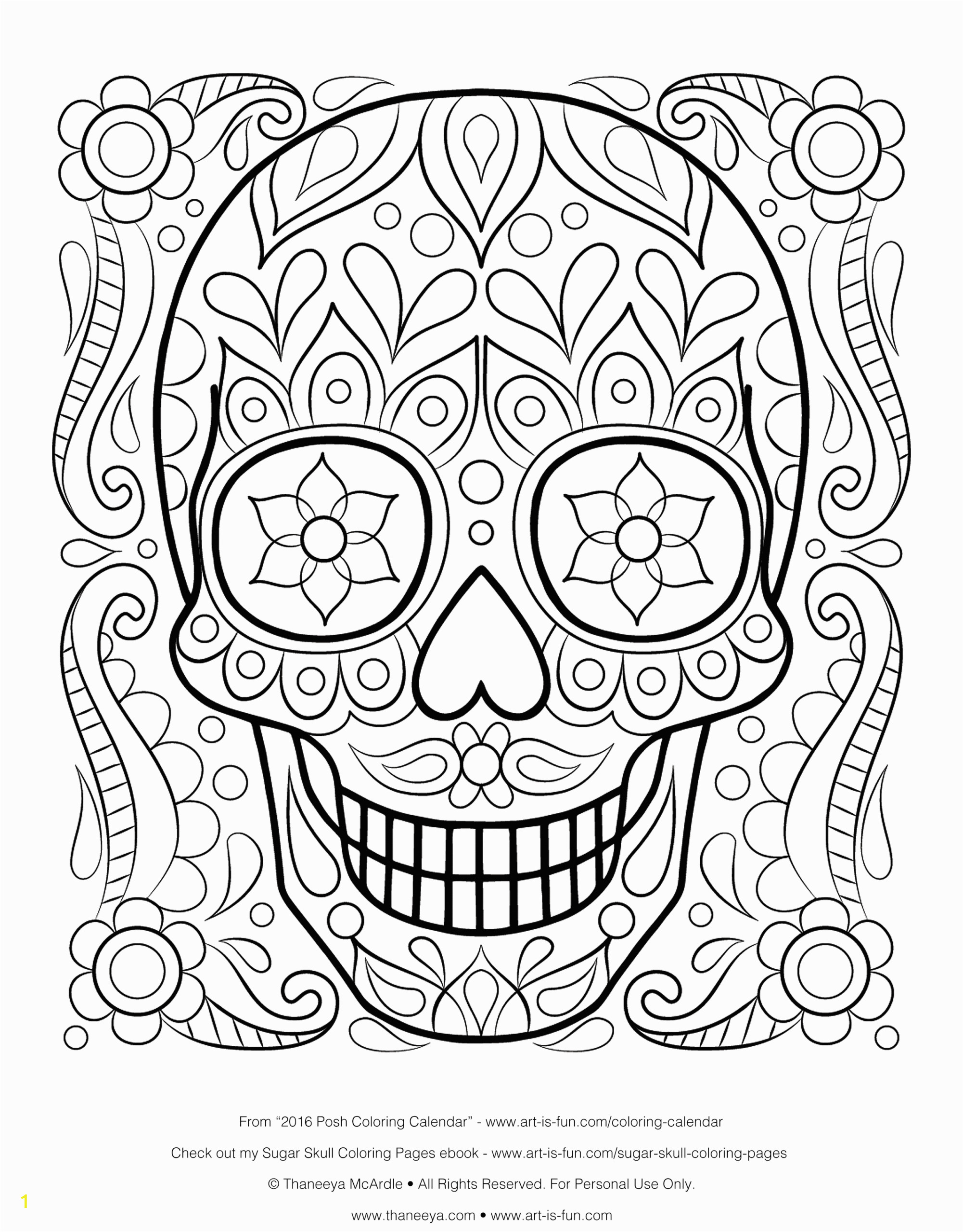 coloring book printable pages free skull for adults kids teenss scaled