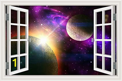 Space Wall Mural Wallpaper Peel & Stick Wall Murals Outer Space Galaxy Planet 3d Wall Srickers for Living Room Window View Removable Wallpaper Decals Home Decor Art 32×48 Inches