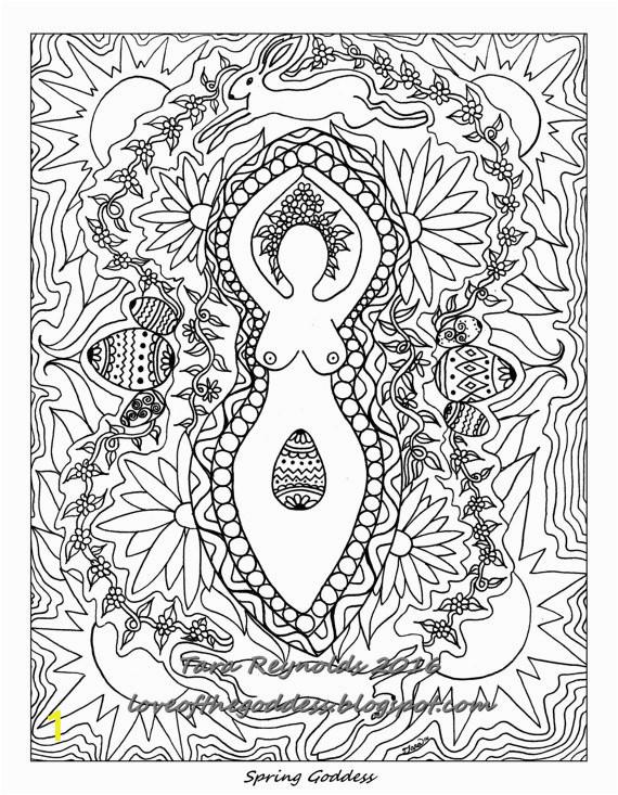 Spring Equinox Coloring Pages Ostara Goddess Mandala Coloring Page