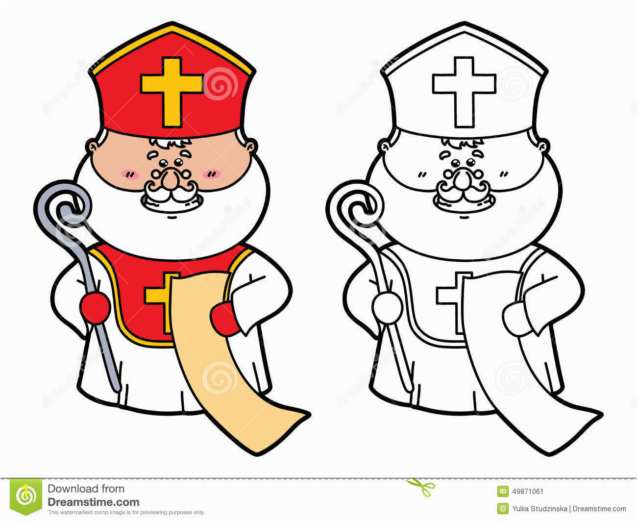 funny st nicholas vector illustration coloring page which holding list children scrapbooking