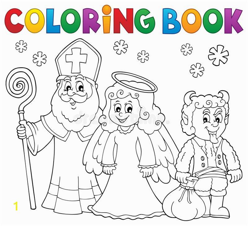 coloring book saint nicholas day theme eps vector illustration coloring book saint nicholas day theme