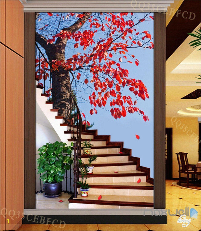 Staircase Wall Mural Ideas 3d Maple Tree Stair Corridor Entrance Wall Mural Decals Art