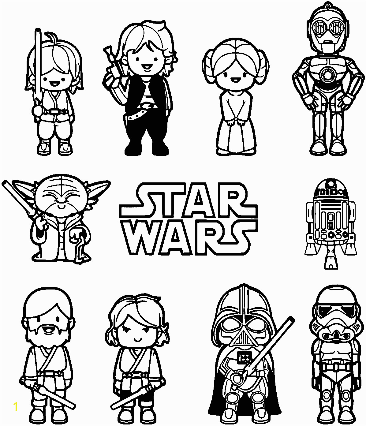 Star Wars Coloring Pages for Kids Star Wars Coloring Pages Luke Skywalker Star Wars Coloring