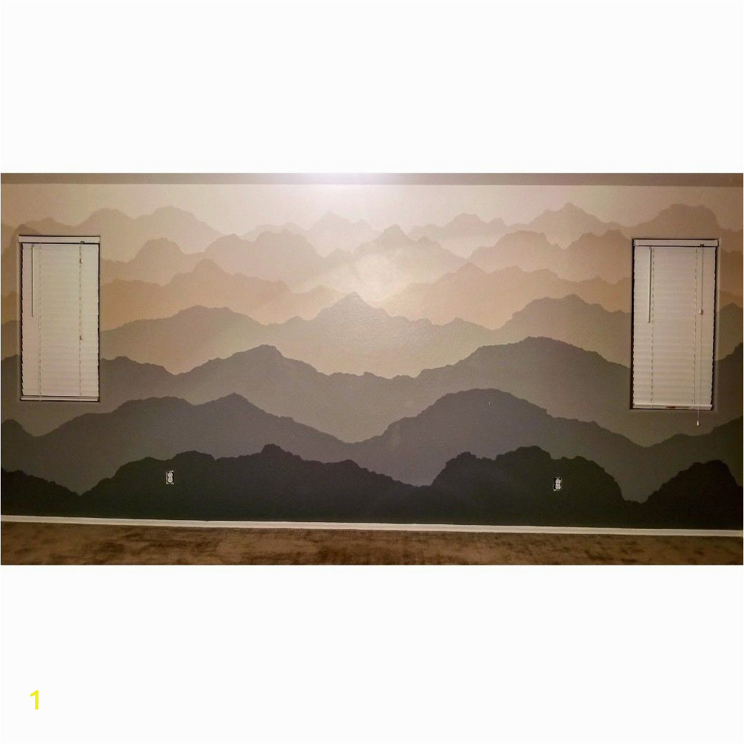 Stranger Things Wall Mural Hand Painted Wall Mural Of Gra Nt Mountain Ranges Done In