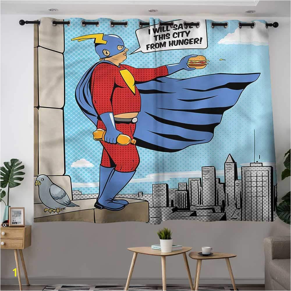 Super Hero Wall Mural Retro Grommet Window Curtain Superhero Fat Man with Burger