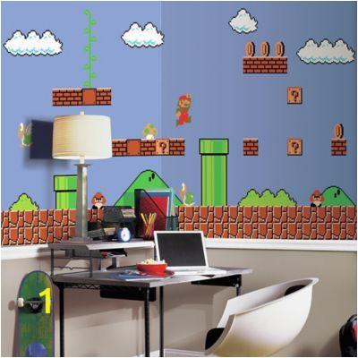 Super Mario Bros Wall Mural Super Mario Retro Xl Chair Rail Prepasted 10 5 X 6 Mural