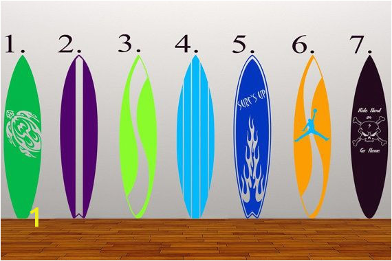 Surf Wall Mural Stickers Surfboards Kids Vinyl Decal Wall Art Wall Mural Graphics for