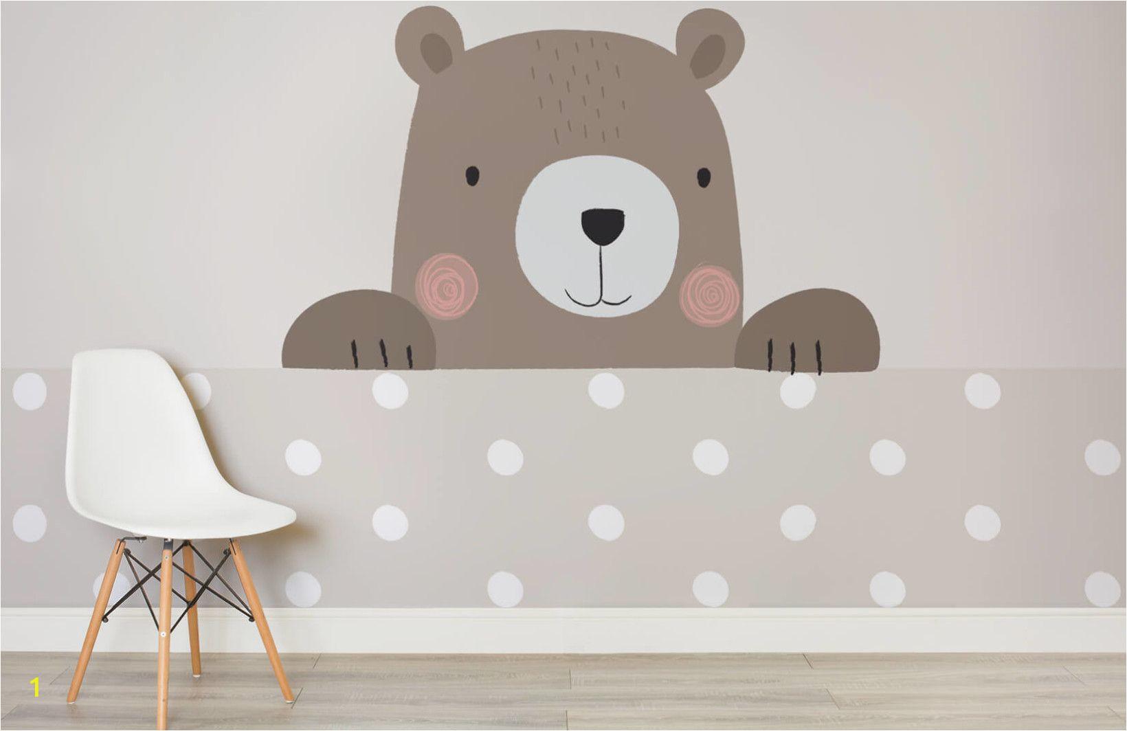 Teddy Bear Wall Mural Cute Cartoon Bear Wallpaper