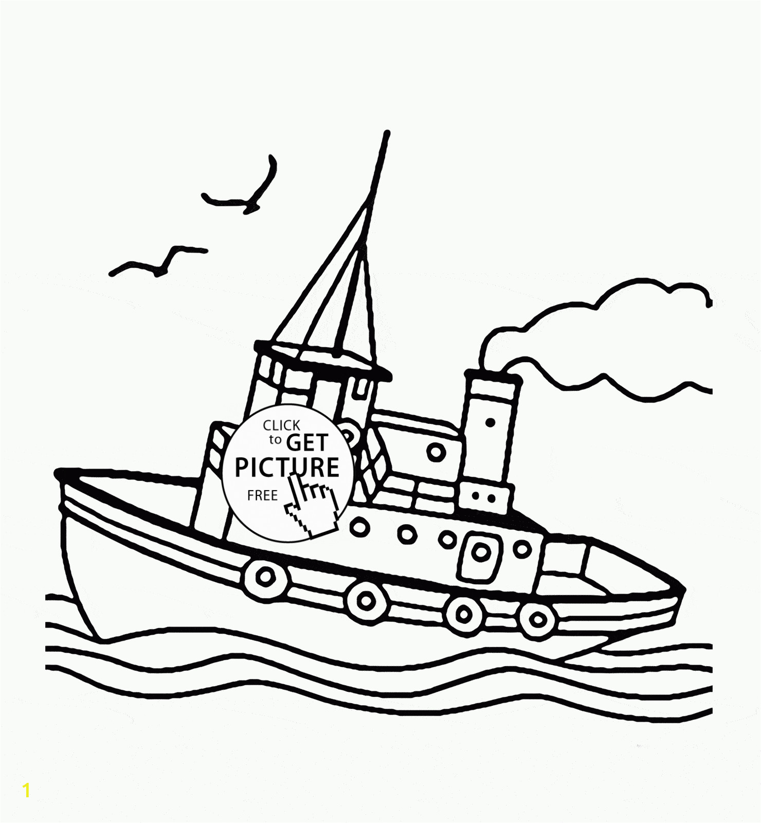 in tugboat coloring page for kids transportation pages