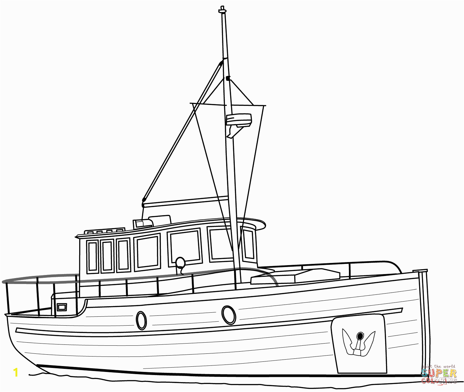 happy tugboat coloring page cruiser boat free printable pages
