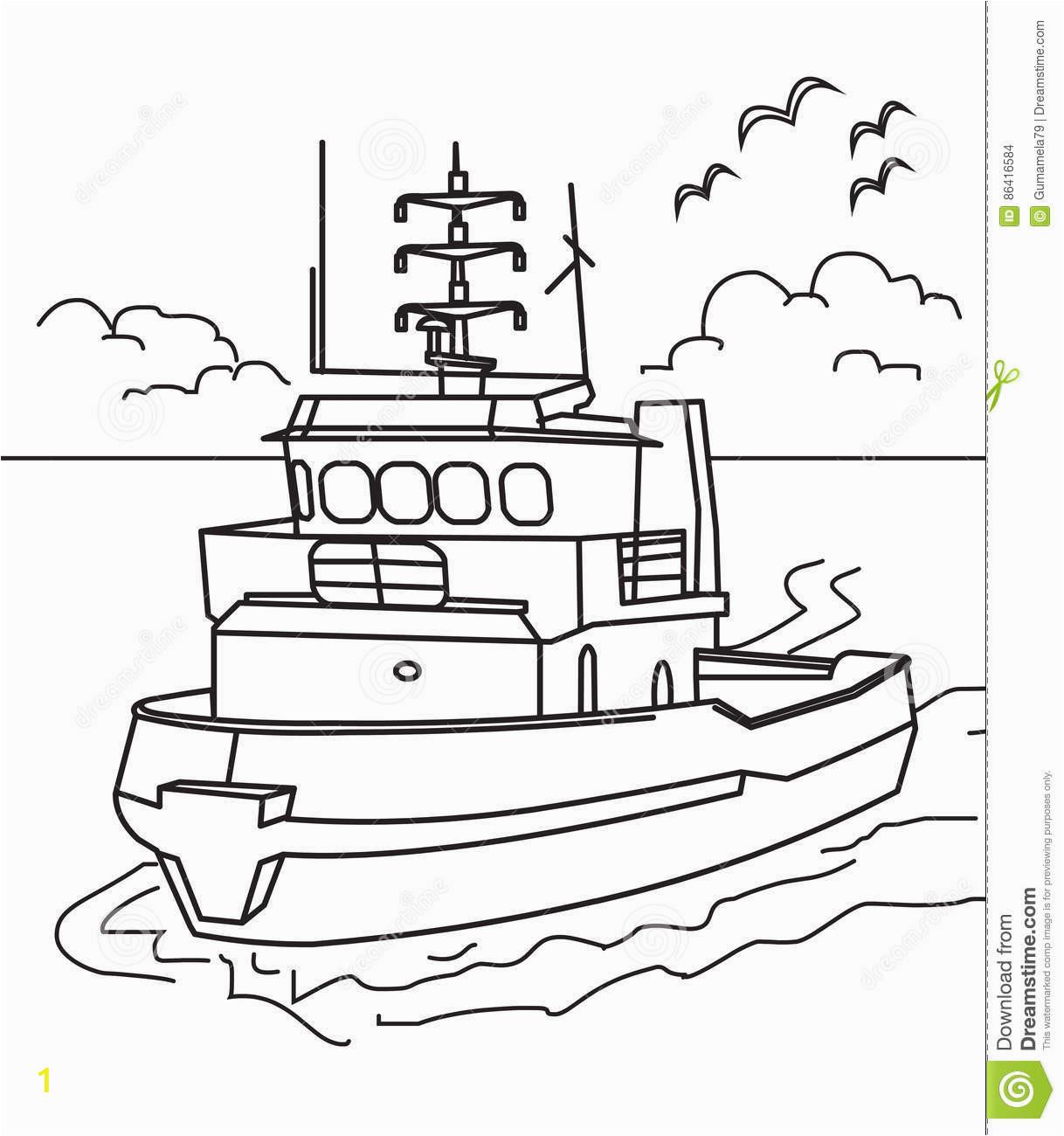 portfolio tugboat coloring page boat stock illustration of
