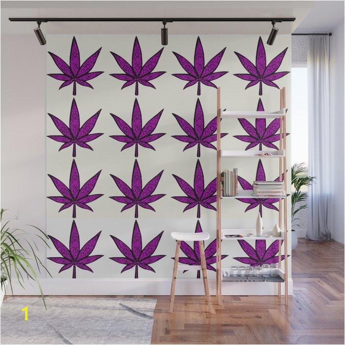 filigree floral cannabis leaf 4x4 tile wall murals