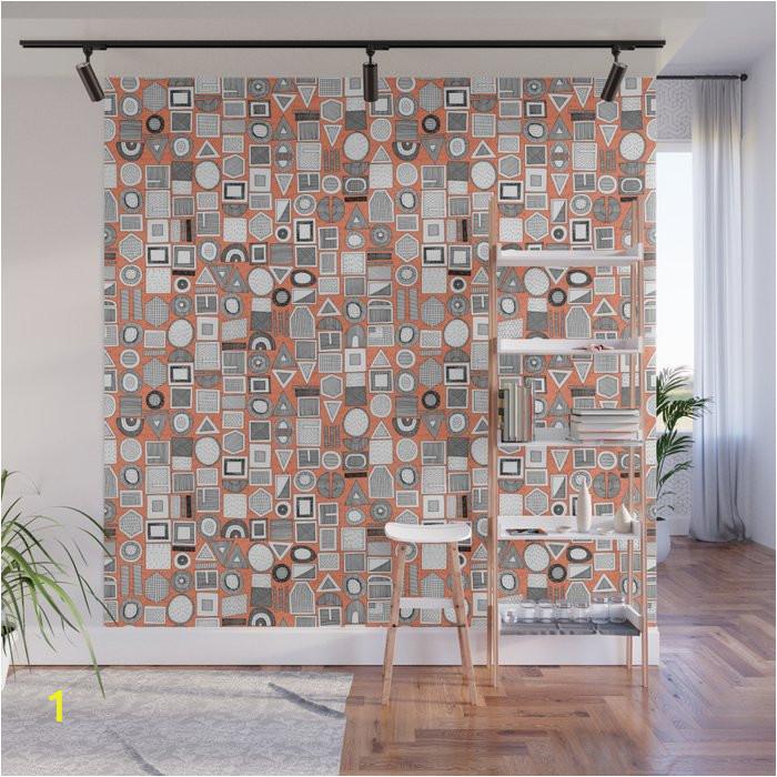 frisson memphis bw orange wall murals
