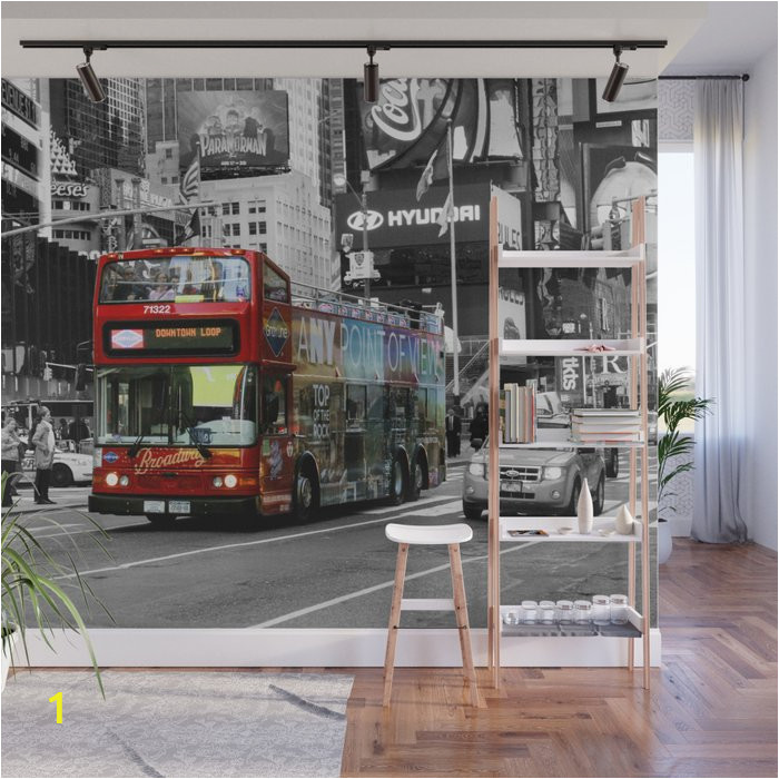 Times Square Wall Mural Red Bus Times Square Wall Mural by Positiveimages