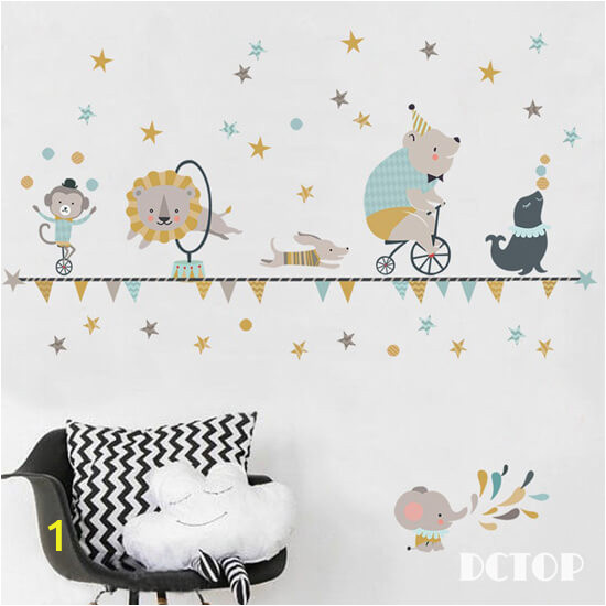 Wall stickers for kids Elephant circus animal cartoon wall decor stickers for childrens room decoration 1