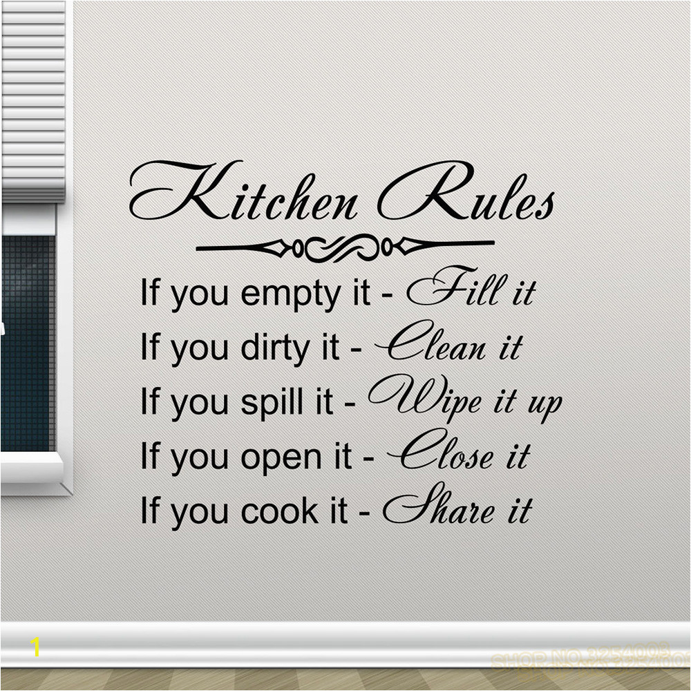 Kitchen Rules Wall Decal Decor Sign Quote Vinyl Sticker Poster Home Gifts Removable Art Mural Home