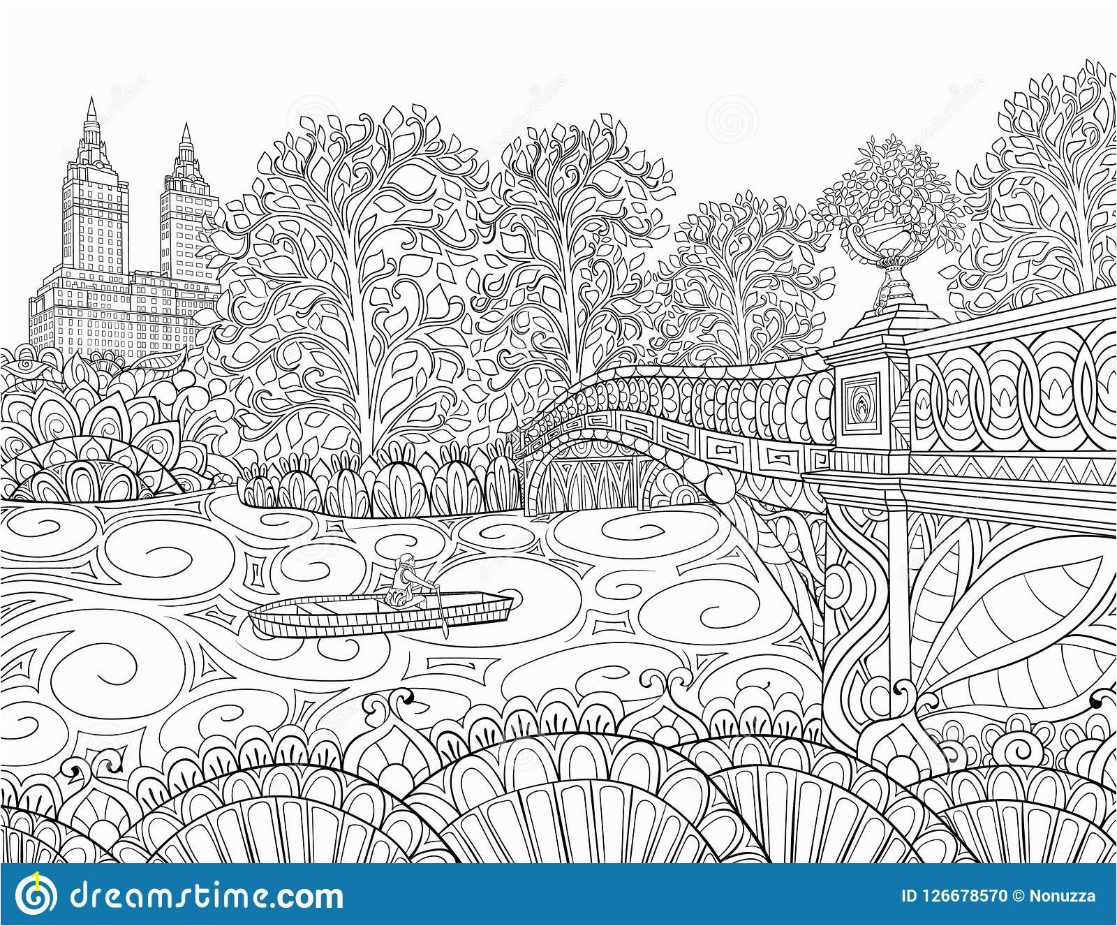 adult coloring bookpagendscape image for relaxing book pagendcsape trees road line art style pages