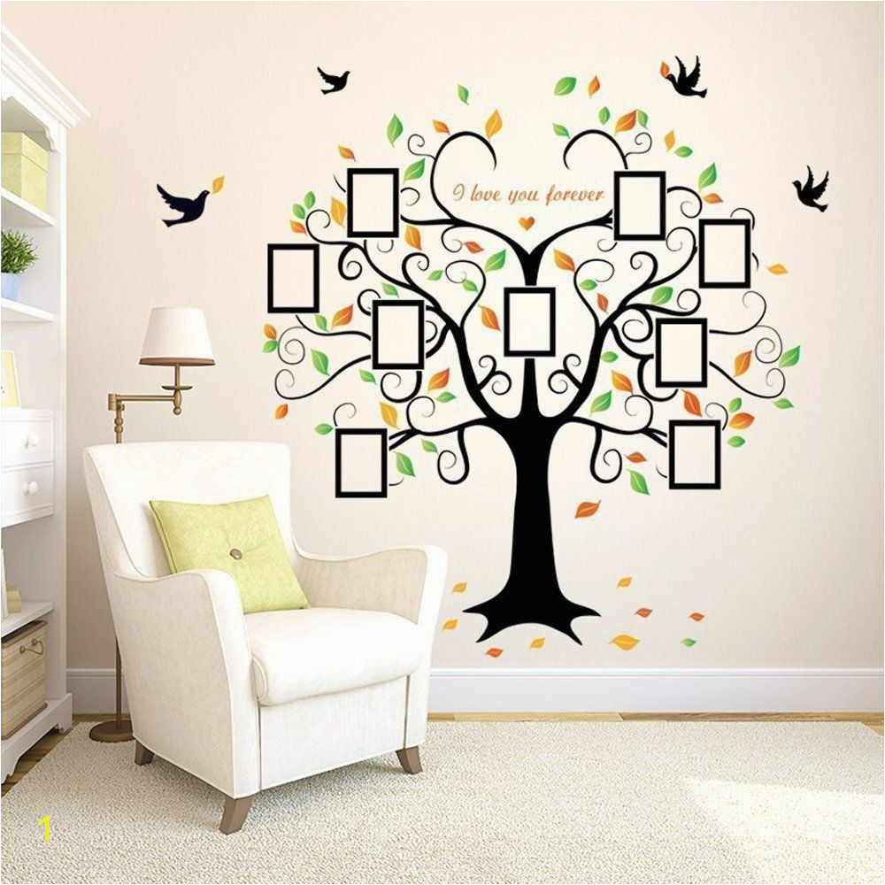 Tree Wall Mural with Picture Frames Family Tree Wall Decal 9 Frames Peel