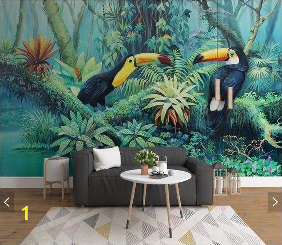 Tropical Rainforest Wall Mural Tropical toucan Wallpaper Wall Mural Rainforest Leaves