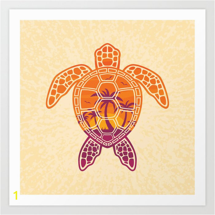 tropical sunset sea turtle design prints
