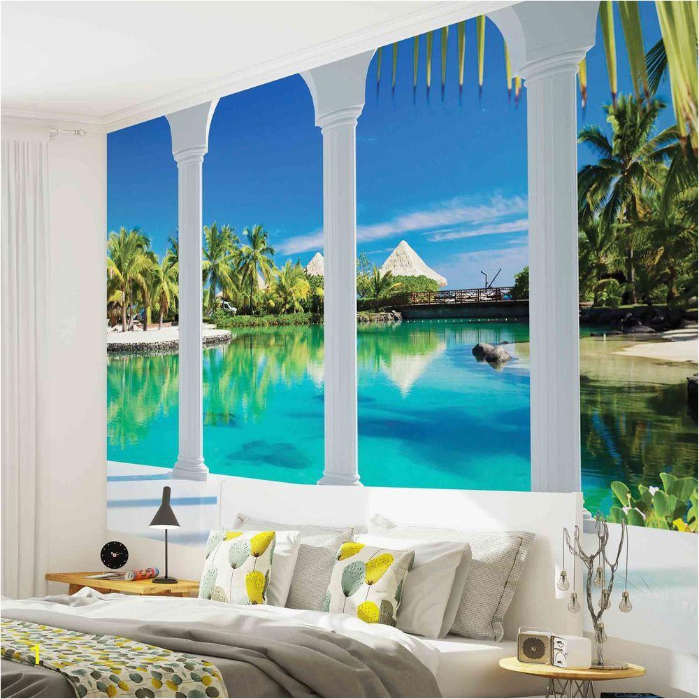 Tropical Window Wall Mural Details About Wall Mural Photo Wallpaper 2357p Beach