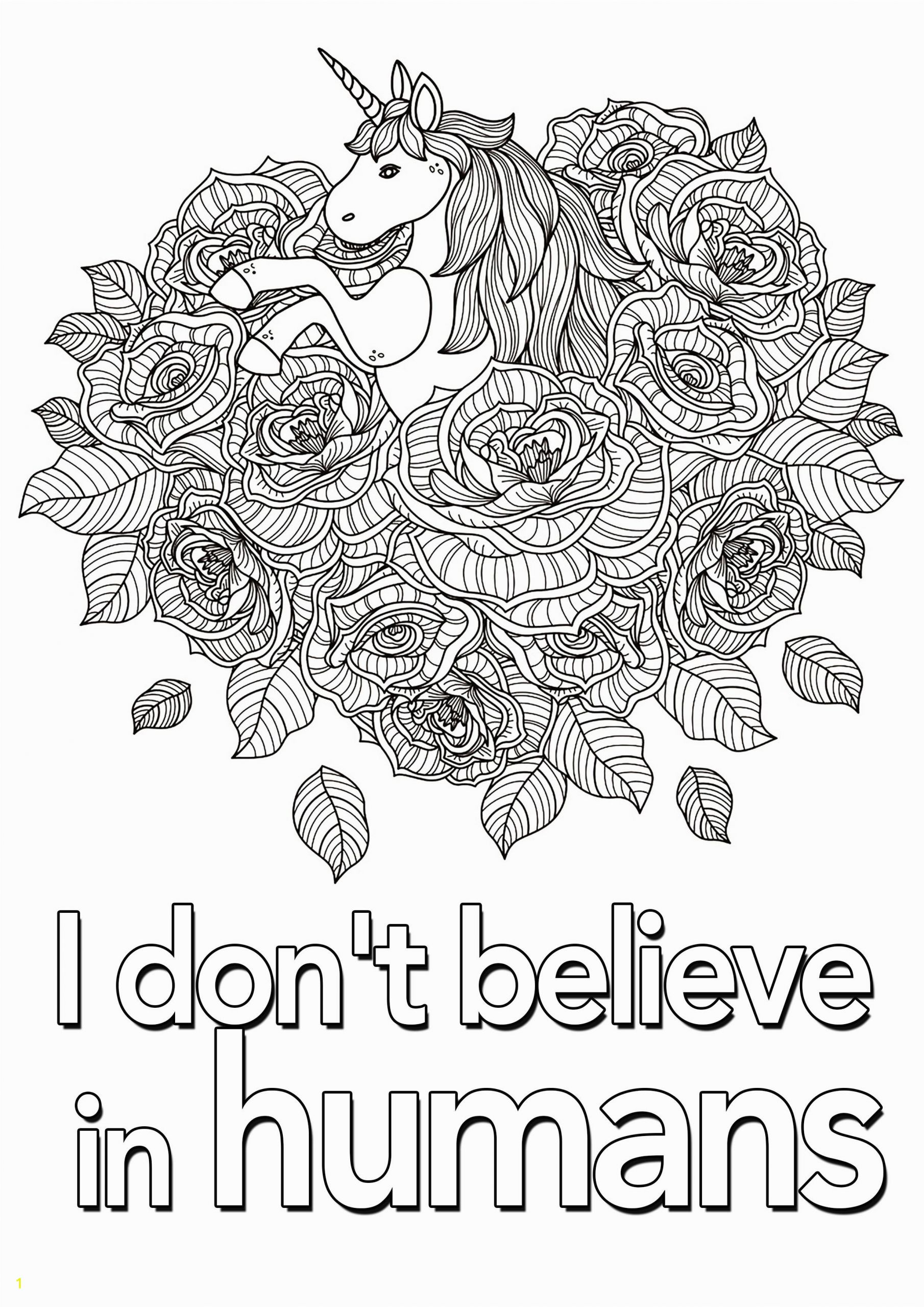 "Unicorn Thanksgiving Coloring Pages I Don T Believe In Humans"" Quote to Color with Beautiful"