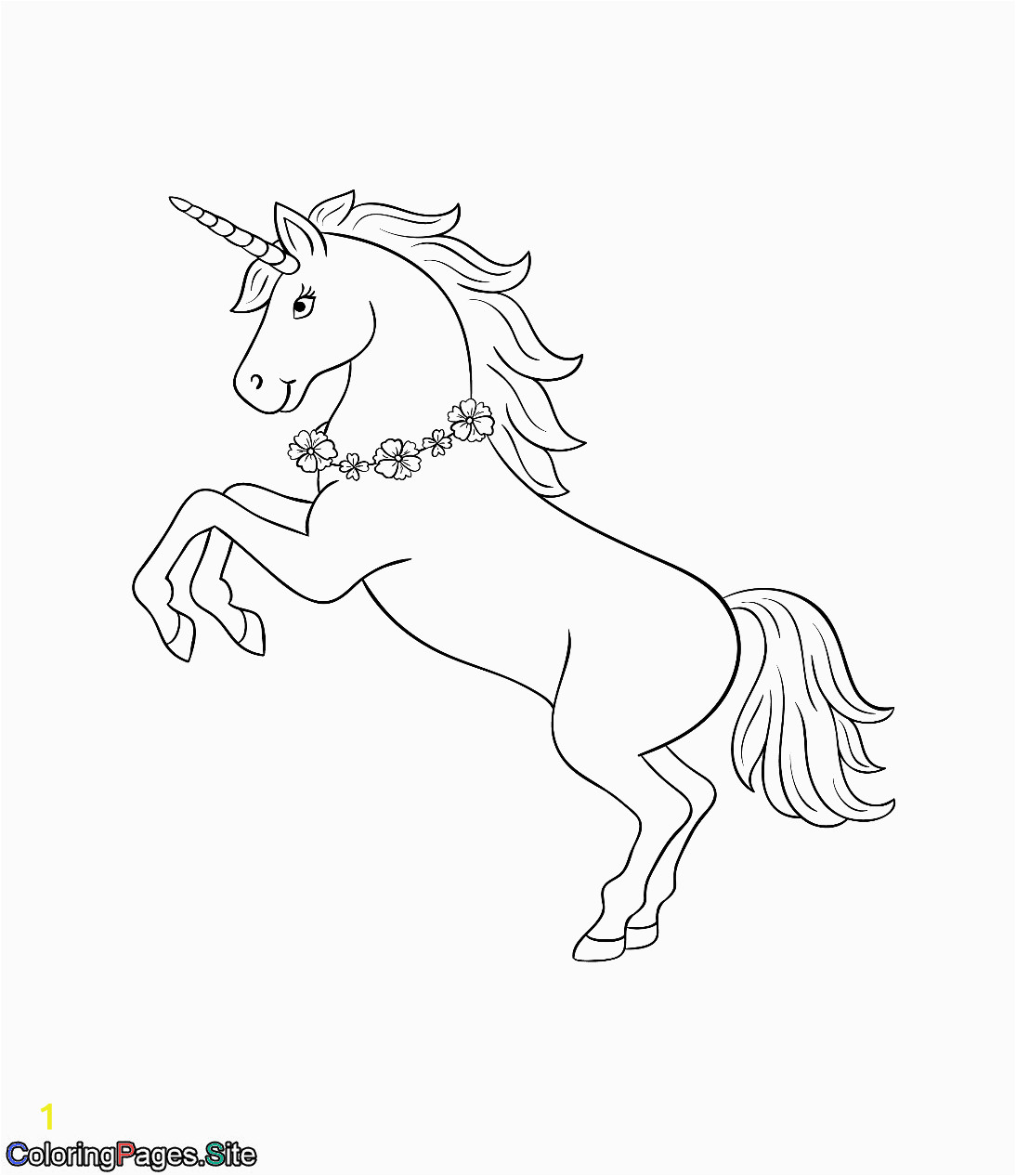 Unicorn with Wings Coloring Page Unicorn with A Flowers Necklace Coloring Page