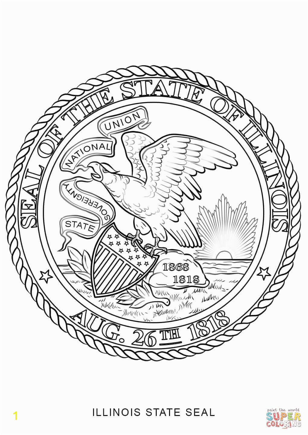 illinois state seal coloring page marvelous states book free