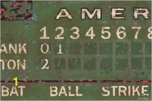 Green Vintage Scoreboard Baseball Wall Art PE0300