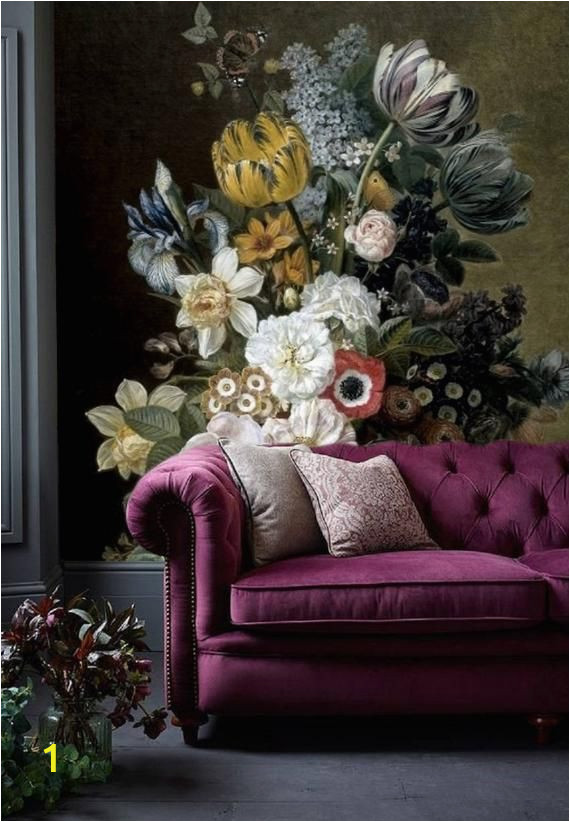Vintage Floral Wall Mural Removable Wallpaper Floral Wall Mural Peel and Stick