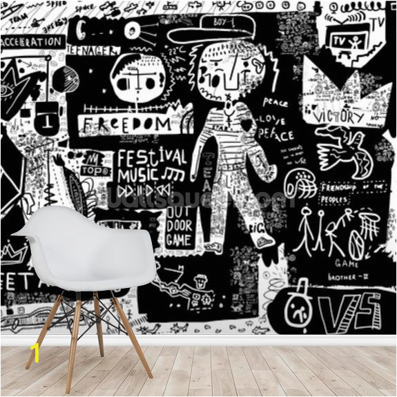 graffiti black white wallpaper