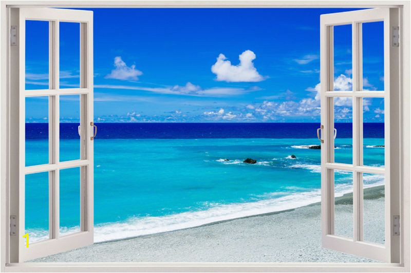 Vinyl Wall Mural Beach Details About 3d Beach Wall Stickers Window View Home Decor