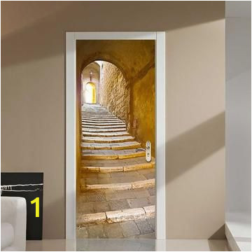 Wall and Door Murals 3d Stone Alleyway Steps Door Sticker In 2019