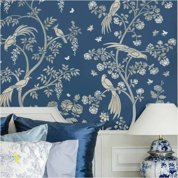 Wall and Mural Stencils Birds and Roses Chinoiserie Wall Mural Stencil Diy asian