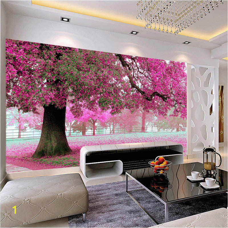 large mural customized 3D wallpaper abstraction painting with flowers tree behind sofa TV as background in q50