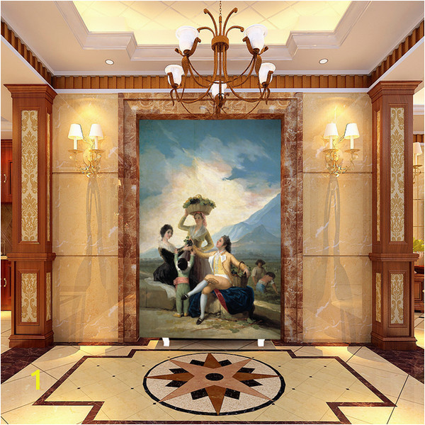 Wall Mural for Hallway 3d Customized European Oil Painting Wallpaper Girls and Mother Beautiful Mural Living Room Corridor Porch Hallway Background Wall Decor Hd Widescreen