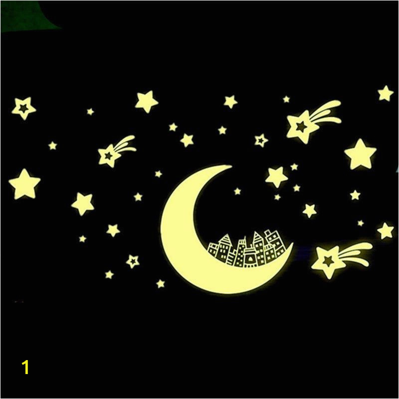 Wall Mural Glow In the Dark Glow In Dark Moon Star Luminous Stickers Removable Wall