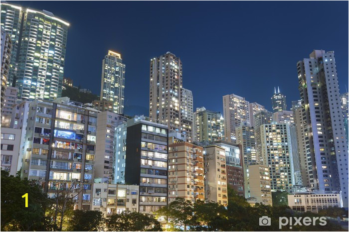 wall murals residential buildings in hong kong at night
